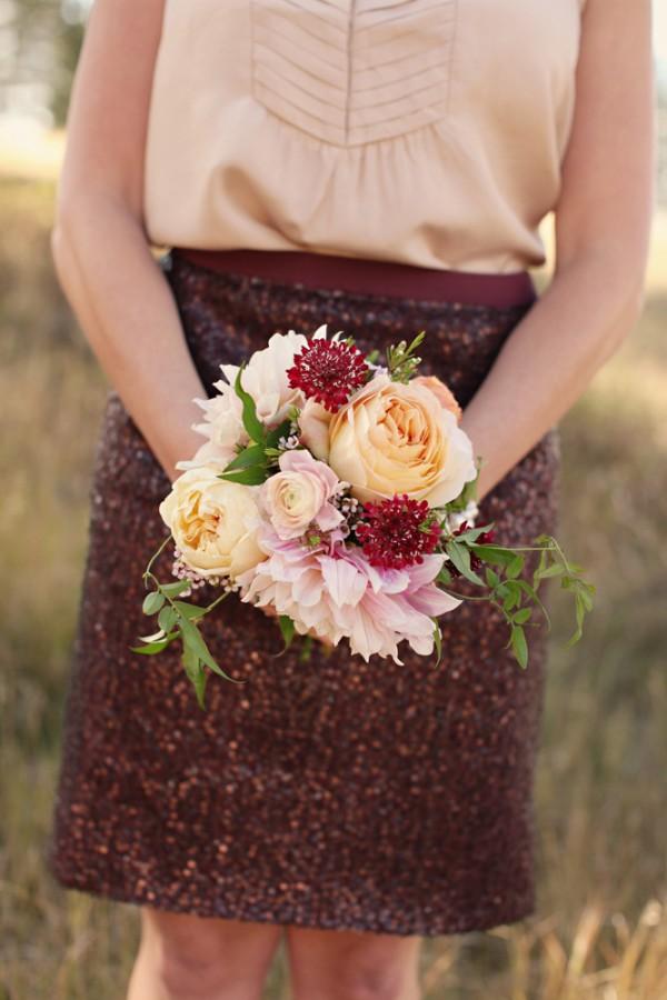 Peach Rose Cranberry Scabiosa Pink Dahlia Bouquet