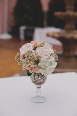 Pink Rose and White Hydrangea Centerpiece