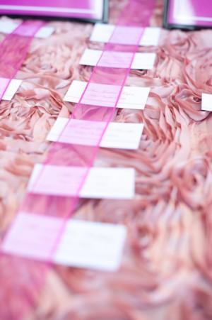 Ruffled Fabric Escort Card Table