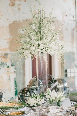 Tall Elegant White Wedding Centerpiece