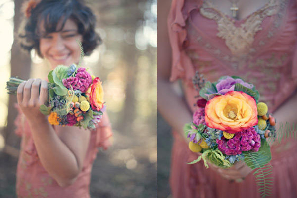 Vintage Succulent and Cockscomb Bouquet