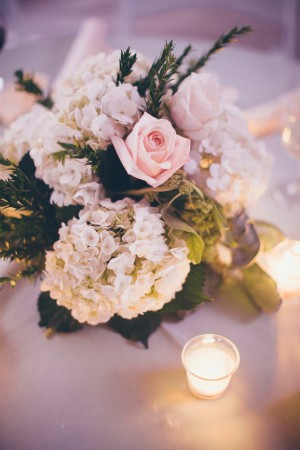 White Hydrangea Pink Rose Centerpiece