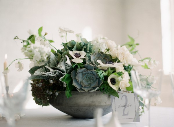 White and Green Succulent Centerpiece 1