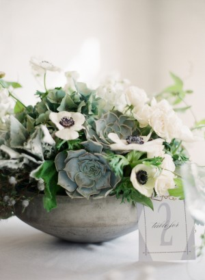 White and Green Succulent Centerpiece 2