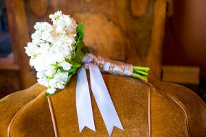 All White Bouquet With Ribbon and Burlap