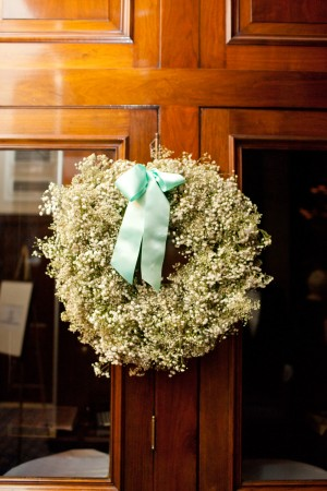 Babys Breath Wreath With Blue Ribbon