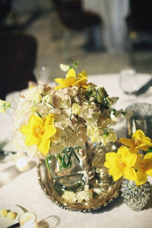 Beige and Yellow Centerpiece in Mercury Glass