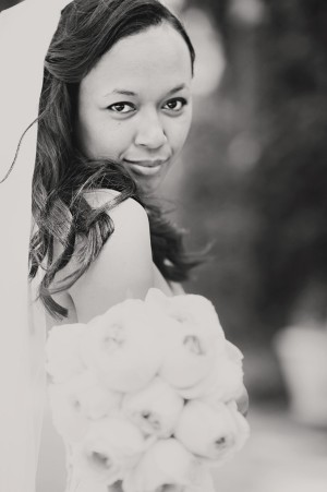 Black and White Close up of Bride