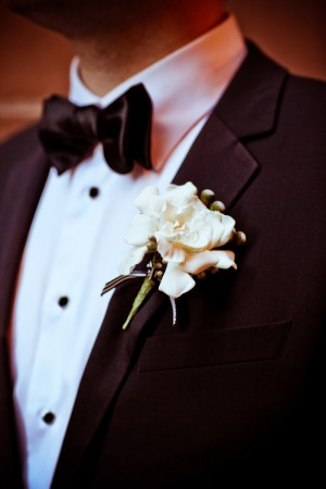 Black and White Ribbon Boutonierre