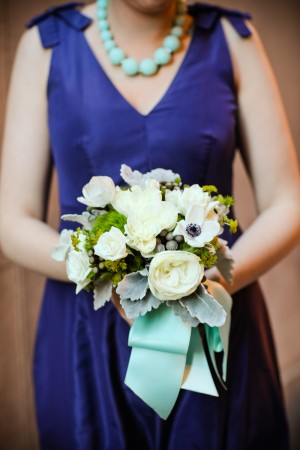 Blue Bridesmaids Dress With Bow Shoulder