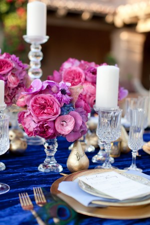 Blue Gold Fuchsia Wedding Tabletop