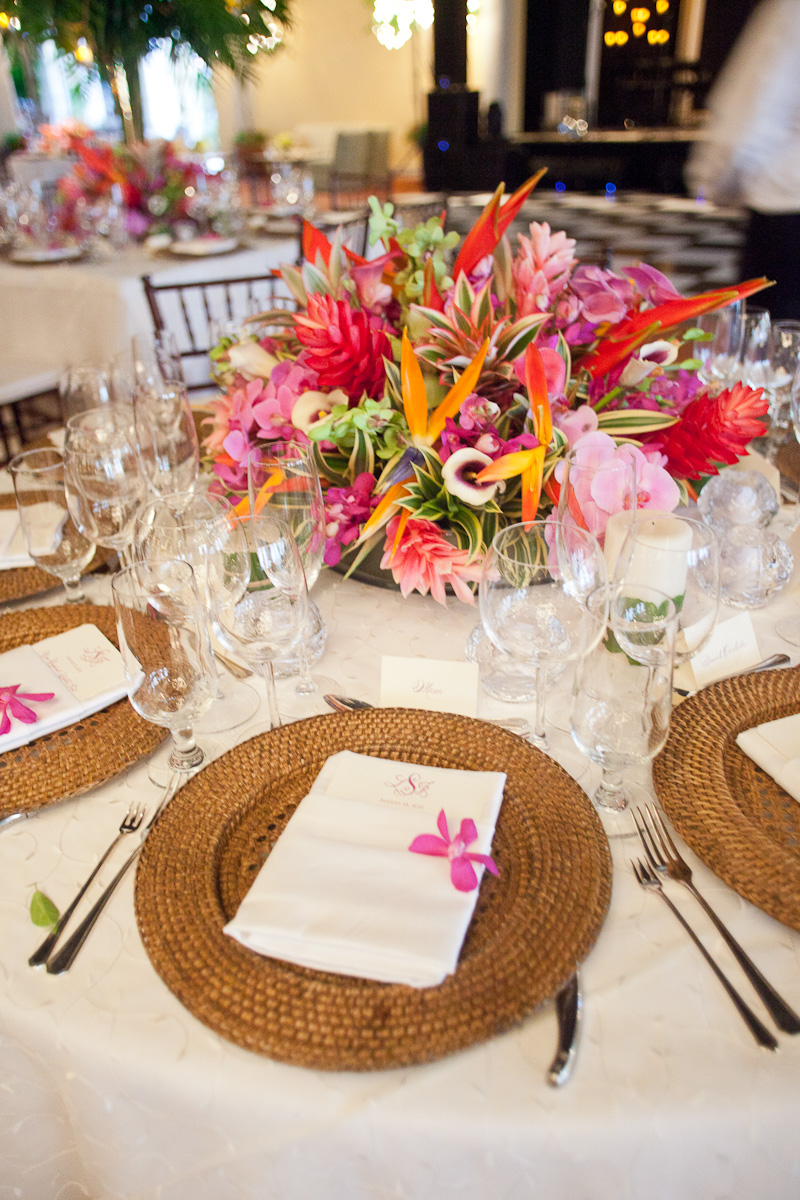 tropical wedding decorations bold tropical floral reception table centerpiece 8085