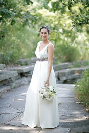 Bridal Portrait Outdoors with White Bouqet