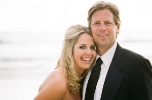 Bride and Groom Smiling Close Up on the Beach