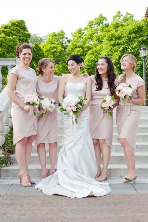 Bride with Soft Pink Bridesmaid Dresses