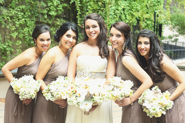 Bridesmaids in Neutral Taupe Dresses