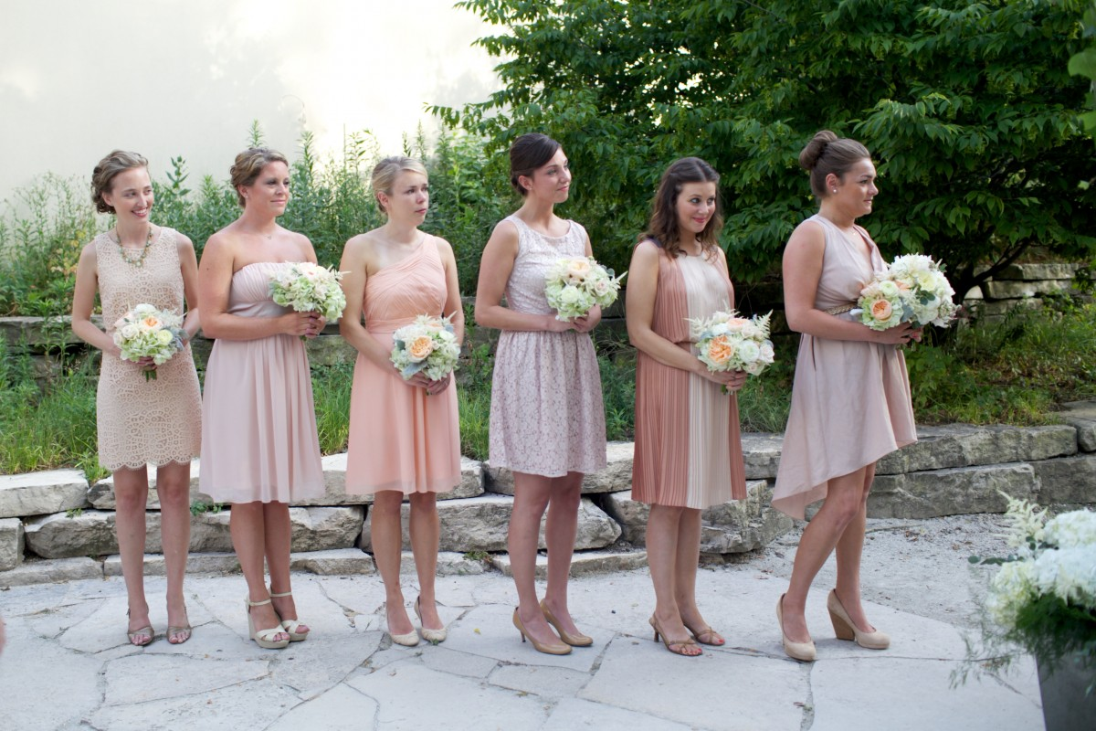 Bridesmaids in shades of soft pink and peach elizabeth anne bridesmaids in shades of soft pink and peach elizabeth anne designs the wedding blog ombrellifo Images