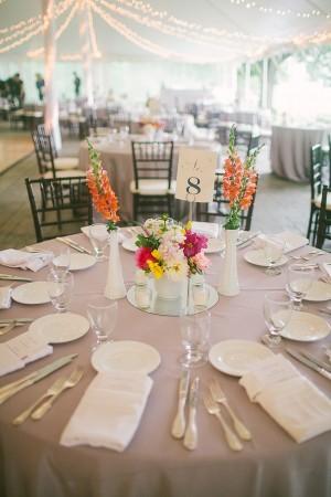 Bright Flower Arrangements Reception Table