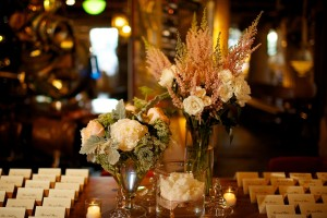 Casual Reception Centerpieces in Glass Vases
