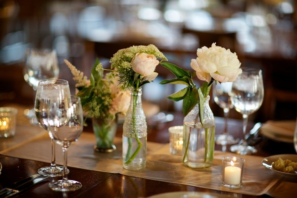Casual Reception Table Flowers in Vintage Vases 1