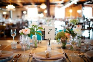 Casual Reception Table Flowers in Vintage Vases