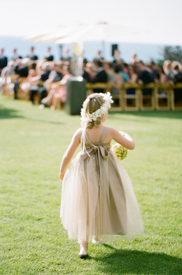 Champagne Flower Girl with Orchid Headpiece