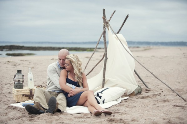 Couple with Tent on Beach