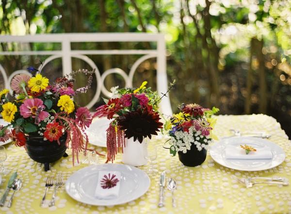 Deep Purple Garden Flower Centerpieces