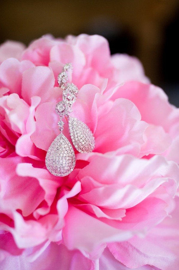 Diamond Earrings in Pink Flower