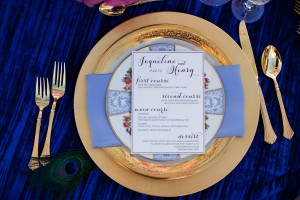 Elegant Blue and Gold Place Setting