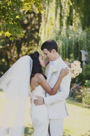 Elegant Bride and Groom Outdoor Portrait