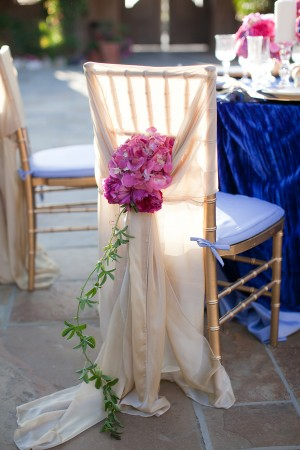 Elegant Champagne Chair Cover Orchids