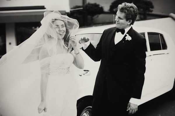 Elegant Wedding Portraits Getaway Car