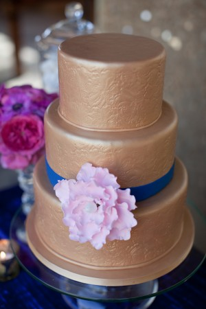 Embossed Gold Wedding Cake