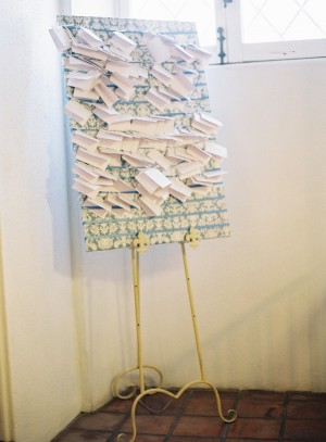 Fabric Covered Board With Place Cards on Easel