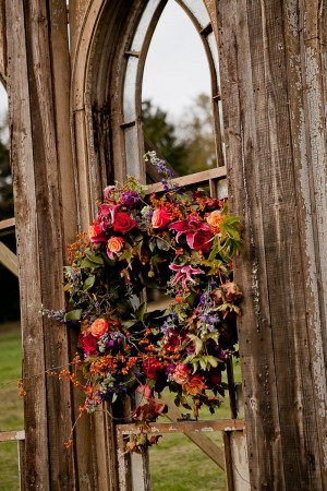 Fall Wreath on Rustic Cathedral Door