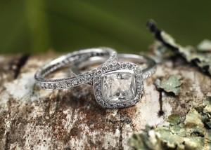 Fancy Bezel Halo Diamond Ring with Side Stones Beyond Eternity Pavé Diamond Ring