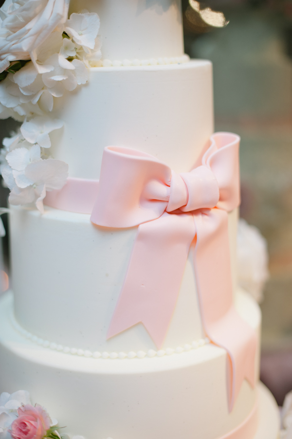 Five Tier Round Fondant Wedding Cake With Pink Bow 1 ...