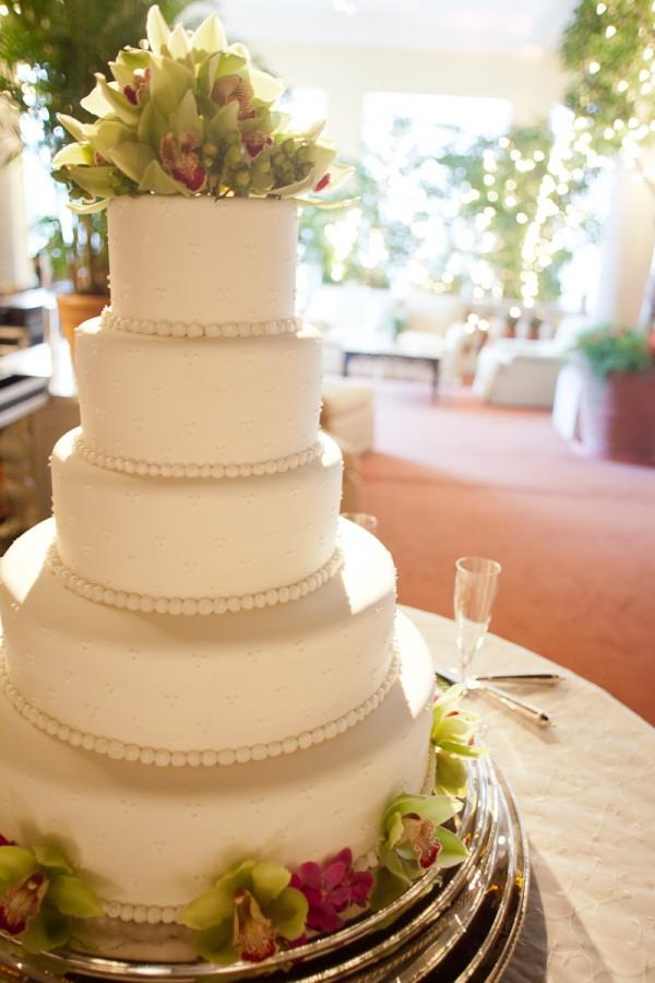 Five Tier Round Wedding Cake With Tropical Flowers - Elizabeth Anne ...
