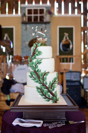 Four Tier Round Wedding Cake With Branch Detail