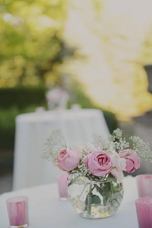 Garden Rose Table Arrangement with DIY Votives