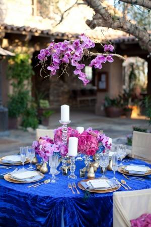 Glamorous Fuchsia Blue Gold Tabletop