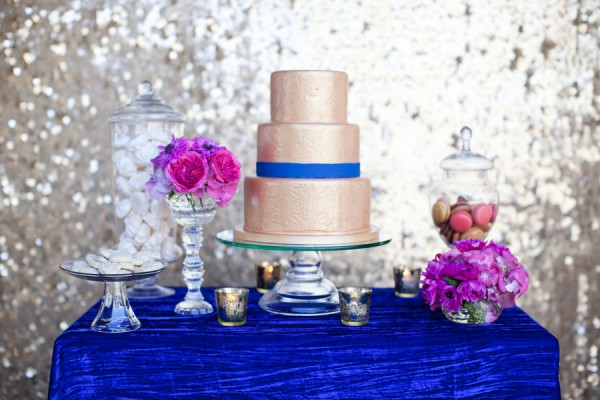 Gold Blue Hot Pink Wedding Dessert Table