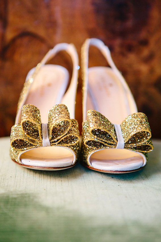 Gold Glitter Wedding Shoes With Bows - Elizabeth Anne ...