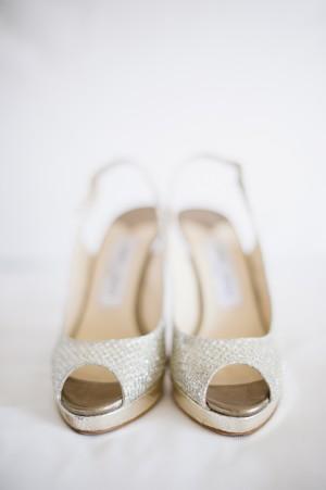 Gold Peep Toe Platform Wedding Shoes