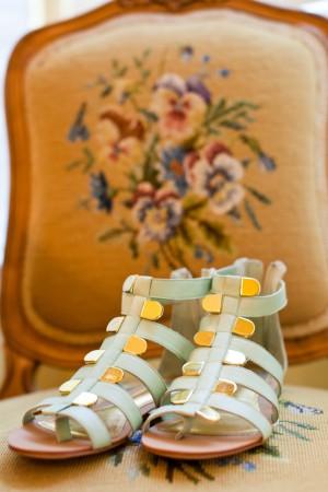 Gold and Pale Aqua Wedding Sandals