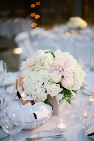 Hydrangea Rose and Dahlia Reception Table Centerpiece 1