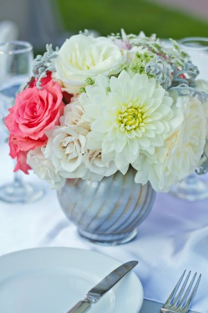 Ivory and Salmon Pink Centerpiece