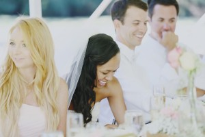 Laughing Bride at Reception