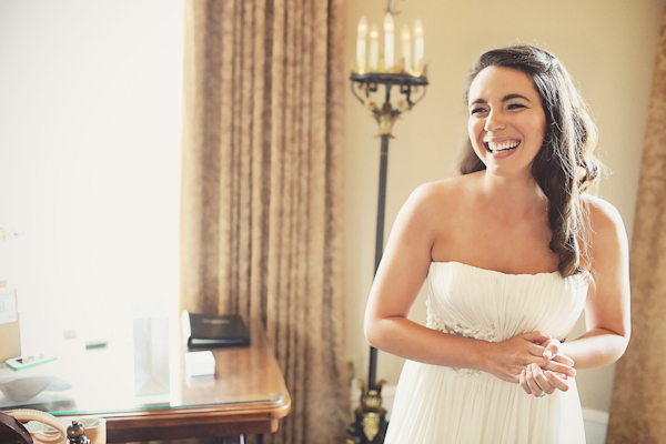 Laughing Bride in Dress